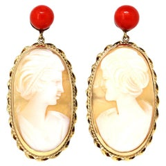 Italian Shell Cameo and Coral Dangling Earrings in 14 Karat Gold