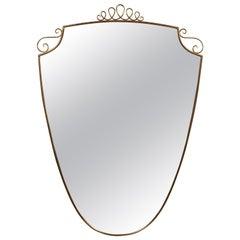 Italian Shield Mirror with Brass Frame