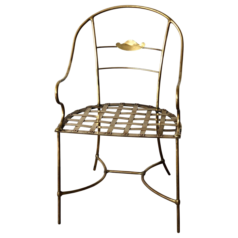 Italian Shiny Brass Art Piece Decorative Armchair with Basket Weave Design Seat