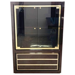 Midcentury Willy Rizzo Dark Brown Lacquered Wood and Brass Italian Cabinet 1980s