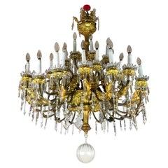 Italian Sicilian 19th Century Large Chandelier Gilt Brass Crystal Thirtysix-Arm