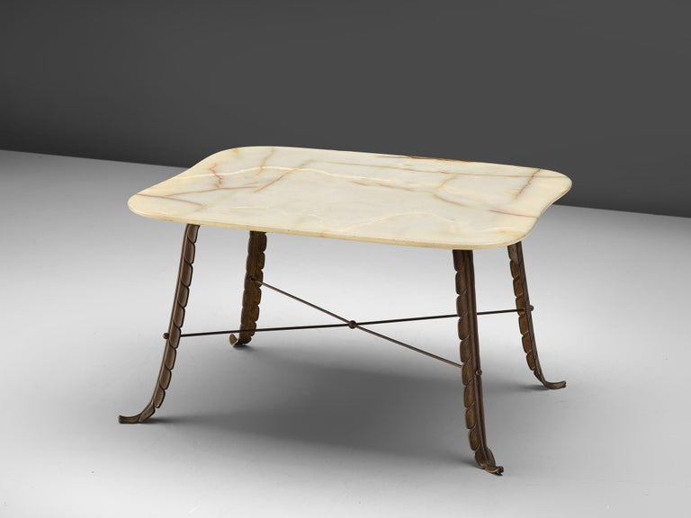 Side table, bronze and marble, Italy, 1950s  Very elegant Italian coffee table executed in bronze and marble. The marble top is square-shaped with rounded corners. The legs are figurative and inspired by leafs. These are connected by a X-shaped