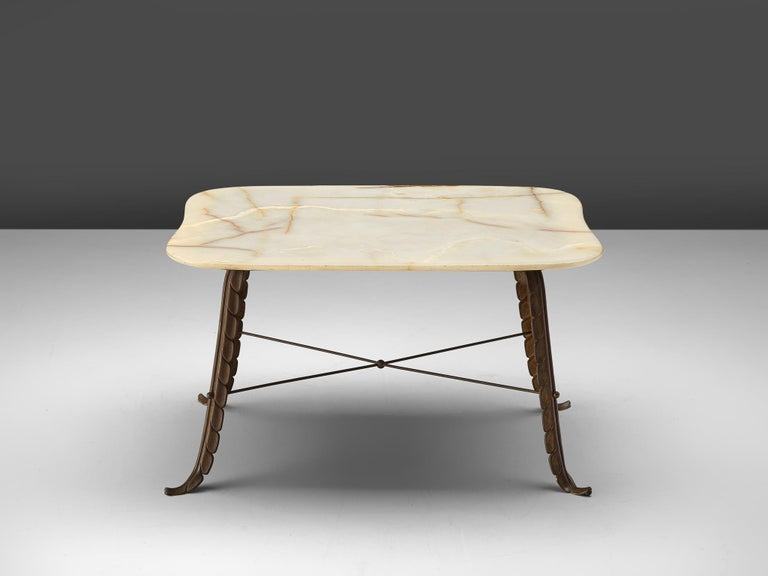 Mid-Century Modern Italian Side Table in Marble and Bronze For Sale
