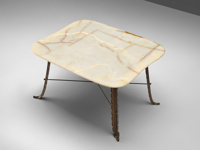 Italian Side Table in Marble and Bronze In Good Condition For Sale In Waalwijk, NL