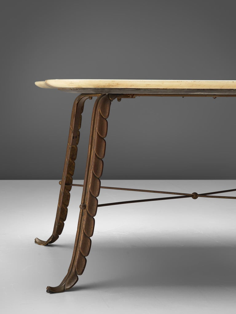 Mid-20th Century Italian Side Table in Marble and Bronze For Sale