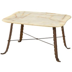 Italian Side Table in Marble and Bronze