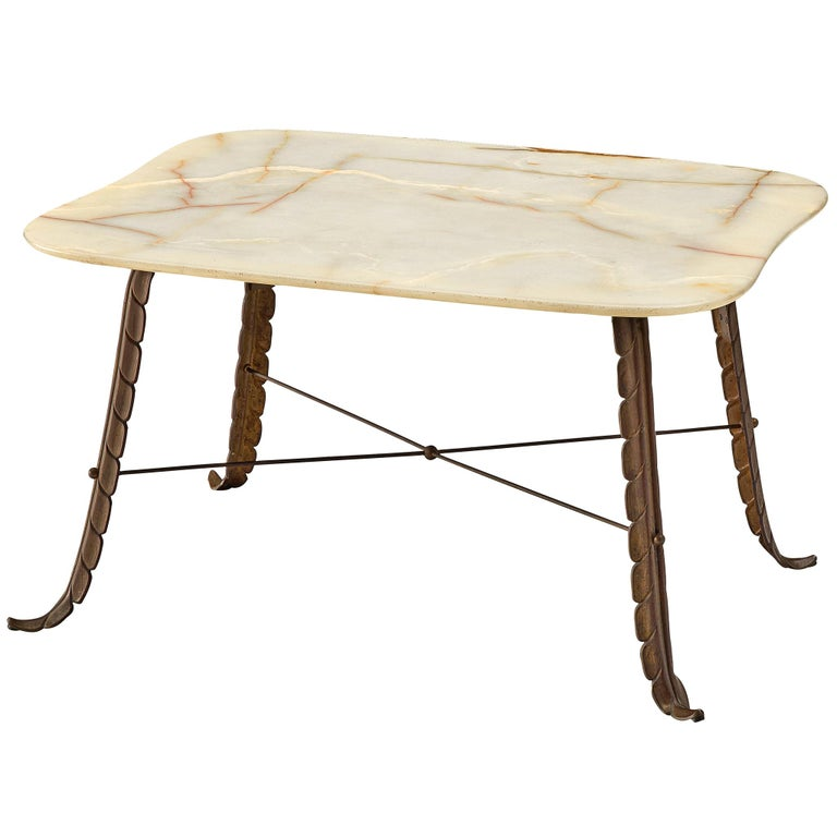 Italian Side Table in Marble and Bronze For Sale