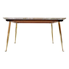Mid-Century Modern Italian Side Table, Mable and Brass, 1960s