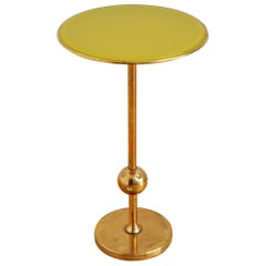 Italian Side Table T1 by Osvaldo Borsani in Brass and Yellow Glass, 1950s