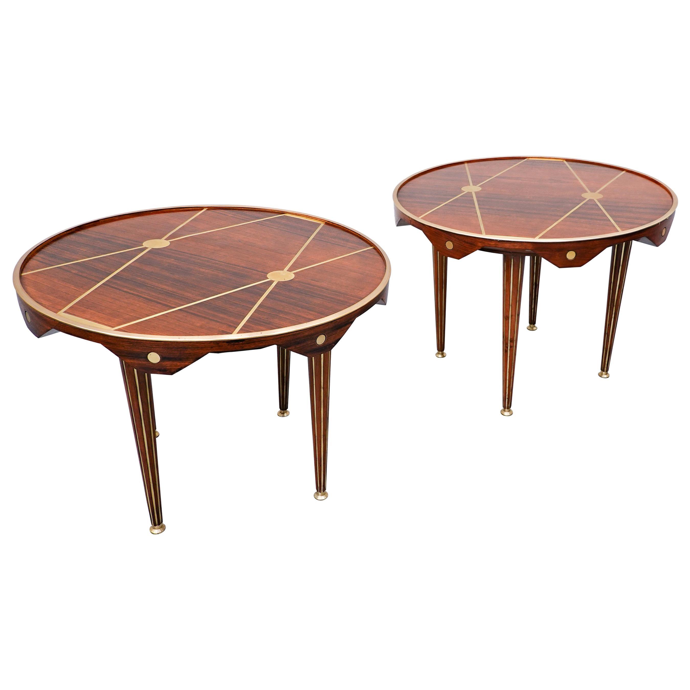 Italian Side Table, Walnut and Brass, 1940s