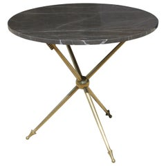 Italian Side Table with Arrow Motif and Marble Top