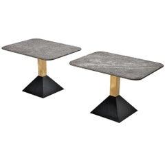 Italian Side Tables in Metal and Rectangular Granite Tops