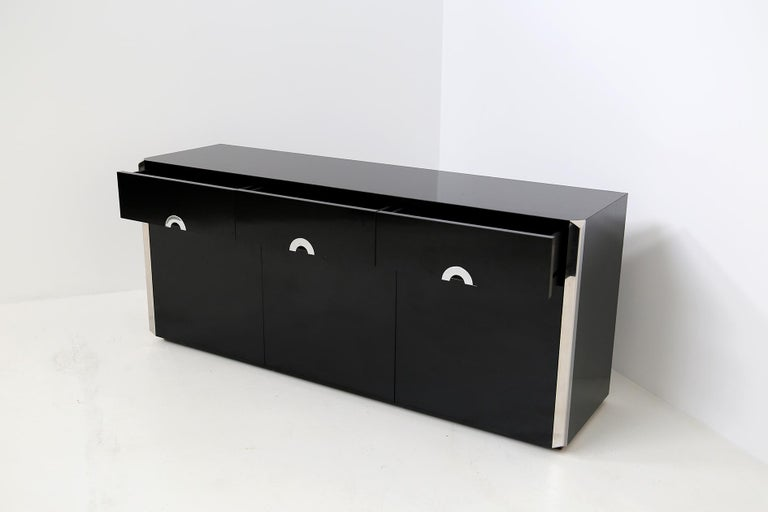 Italian Sideboard by Willy Rizzo for Mario Sabot in Black Wood and Steel, 1970s For Sale 7