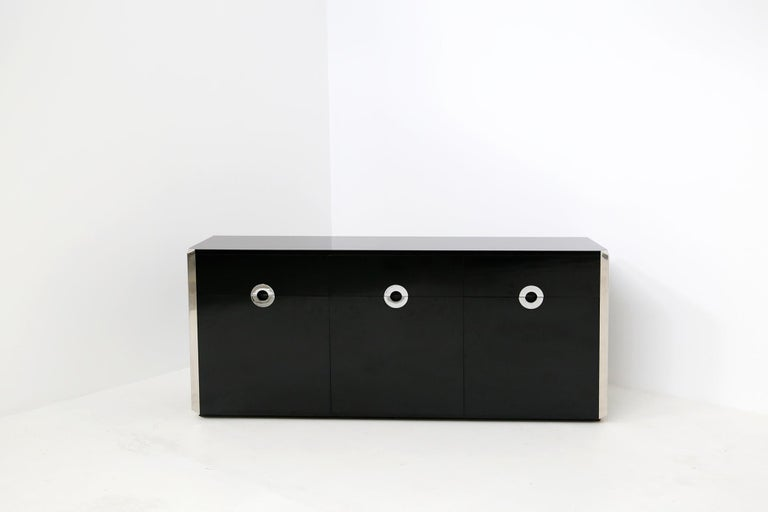 Italian Sideboard by Willy Rizzo for Mario Sabot in Black Wood and Steel, 1970s For Sale 9