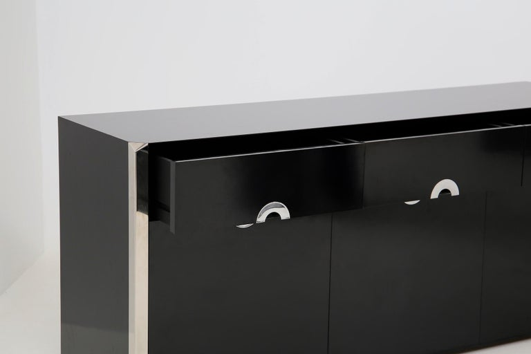 Italian Sideboard by Willy Rizzo for Mario Sabot in Black Wood and Steel, 1970s For Sale 10