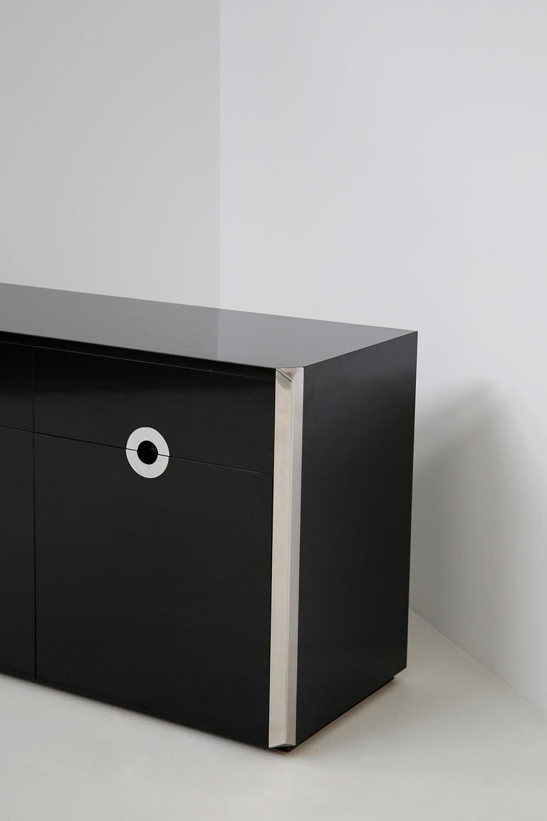 Mid-Century Modern Italian Sideboard by Willy Rizzo for Mario Sabot in Black Wood and Steel, 1970s For Sale