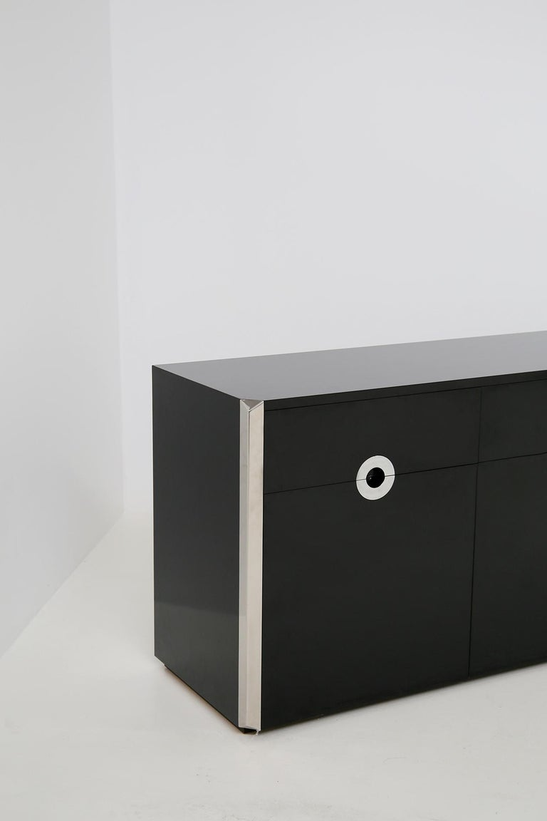 Late 20th Century Italian Sideboard by Willy Rizzo for Mario Sabot in Black Wood and Steel, 1970s For Sale