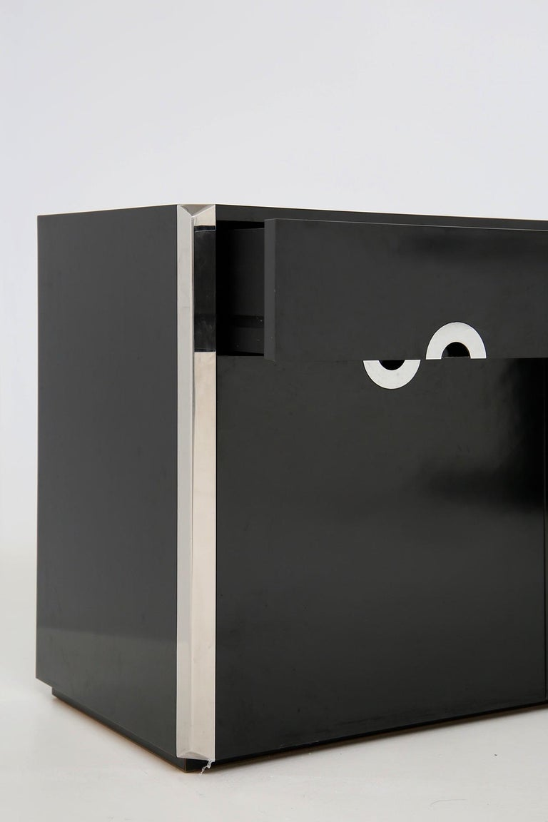 Italian Sideboard by Willy Rizzo for Mario Sabot in Black Wood and Steel, 1970s For Sale 2