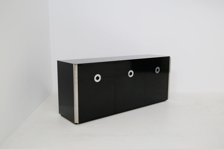 Italian Sideboard by Willy Rizzo for Mario Sabot in Black Wood and Steel, 1970s For Sale 3