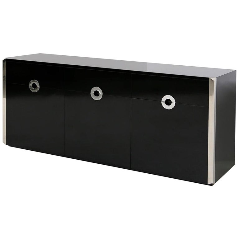 Italian Sideboard by Willy Rizzo for Mario Sabot in Black Wood and Steel, 1970s For Sale