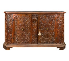 Italian Sideboard in Carved Walnut, Italy 17th Century, Baroque Credenza Venice