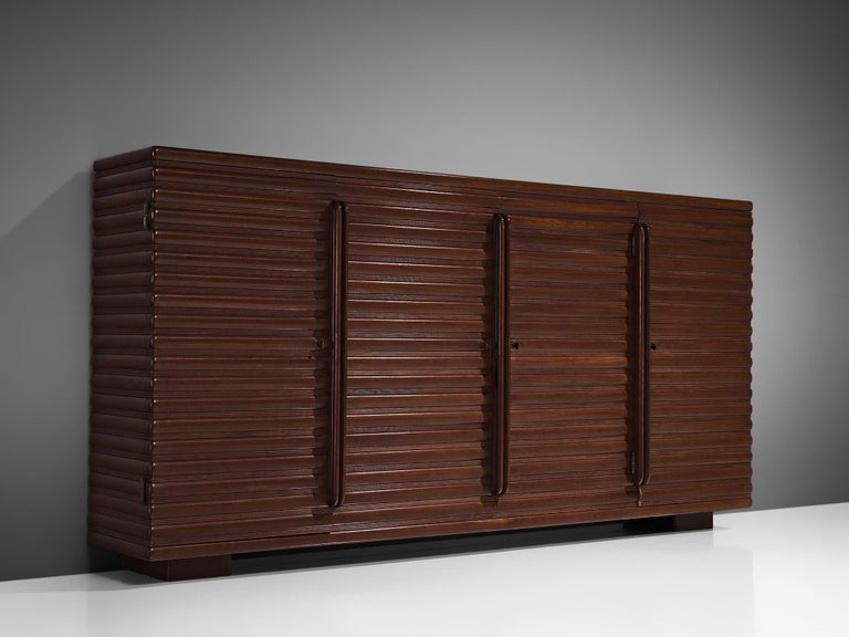 Mid-Century Modern Italian Sideboard in Darkened Oak For Sale