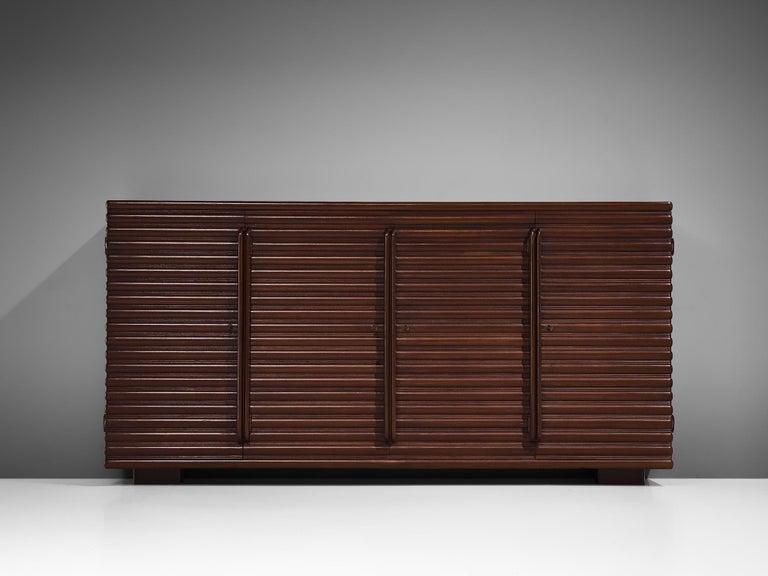 Mid-20th Century Italian Sideboard in Darkened Oak For Sale
