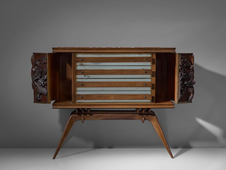 Art Deco Italian Sideboard in Oak with Brass and Marble For Sale