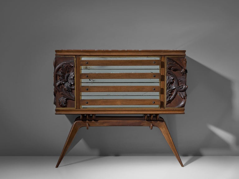 Mid-20th Century Italian Sideboard in Oak with Brass and Marble For Sale
