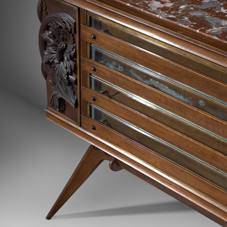 Italian Sideboard in Oak with Brass and Marble For Sale 2