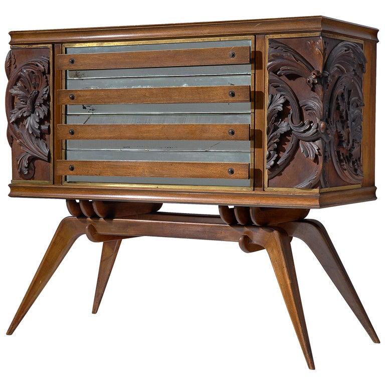 Italian Sideboard in Oak with Brass and Marble For Sale