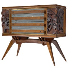 Italian Sideboard in Oak with Brass and Marble