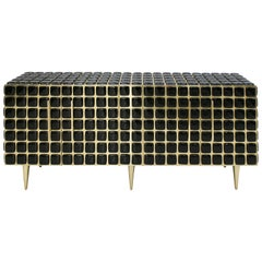 Italian Sideboard Made of Wood Brass & Decorated With Black Murano Glass Mosaics