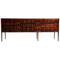 Italian Sideboard with 10 Drawers and Black Glass Top