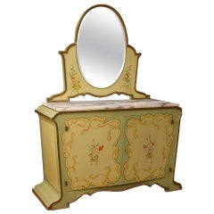 Italian Sideboard with Mirror in Painted Wood in Art Nouveau Style