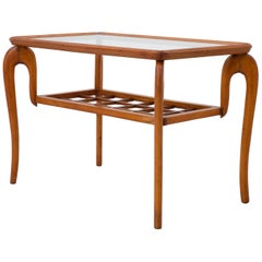 Italian Sidetable with curved Legs in Walnut and Glass, 1950s