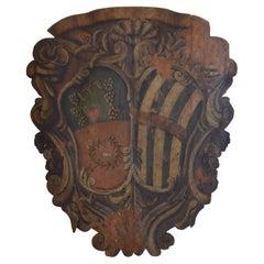 Italian, Sienese, Large Painted Wood Stemma, 2nd Half 17th Century
