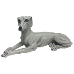 Italian Signed Grey White Ceramic Greyhound Dog Sculpture