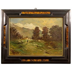 Italian Signed Impressionist Mountain Landscape Painting from 20th Century