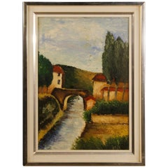 Italian Signed Landscape Painting Oil on Canvas from 20th Century