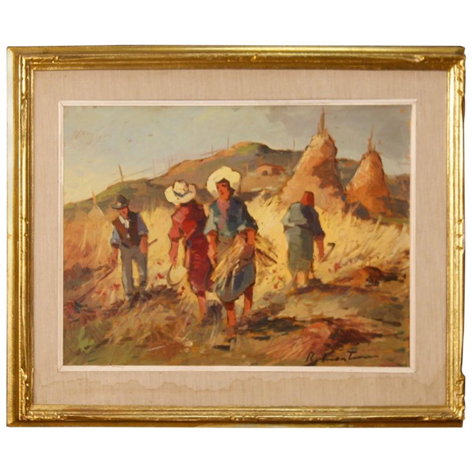Italian Signed Oil Painting Landscape with Workers in the Fields