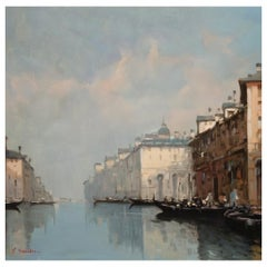 Italian Signed Oil Painting on Canvas, Venice, 20th Century