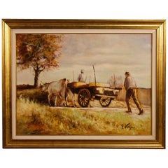 Italian Signed Painting Countryside Popular Scene from 20th Century