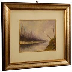 Italian Signed Painting Depicting Landscape, 20th Century