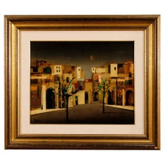 Italian Signed Painting Depicting the City District, 20th Century