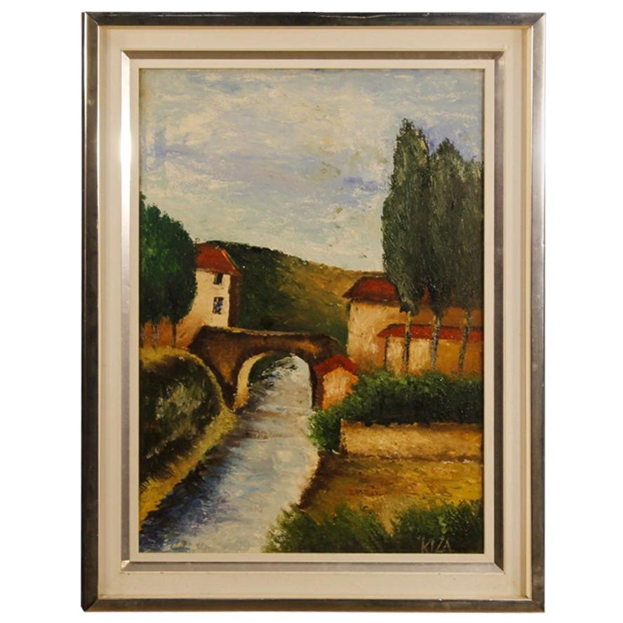 Italian Signed Painting Landscape Oil on Canvas, 20th Century