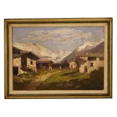 Italian Signed Painting Mountain Landscape, 20th Century