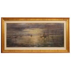 Italian Signed Painting Night Seascape, 20th Century