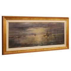 Italian Signed Painting Nocturnal Seascape Mixed-Media on Canvas, 20th Century