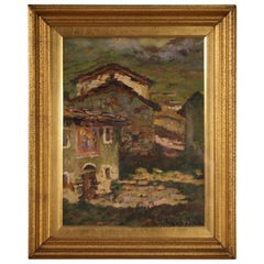 Italian Signed Painting of Countryside Landscape, 20th Century